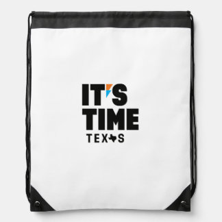IT'S TIME TEXAS Drawstring Bag
