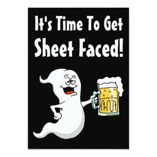 It's Time To Get Sheet Faced Funny Adult Halloween Card