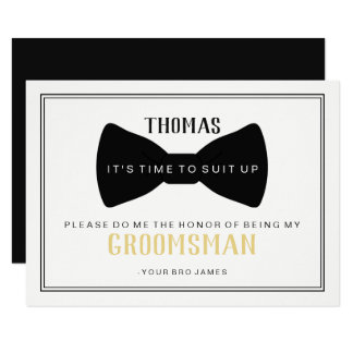 It's Time To Suit Up Groomsman Card - Black Tie I
