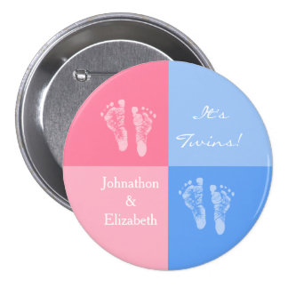 Its Twin Boy and Girl Cute Pink Baby Footprints 7.5 Cm Round Badge