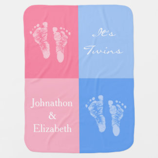 Its Twin Boy and Girl Cute Pink Baby Footprints Baby Blanket