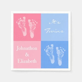 Its Twin Boy and Girl Cute Pink Baby Footprints Disposable Serviette