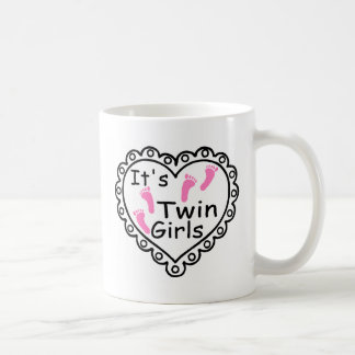 Its Twin Girls Pink Footprints Hearts Coffee Mug