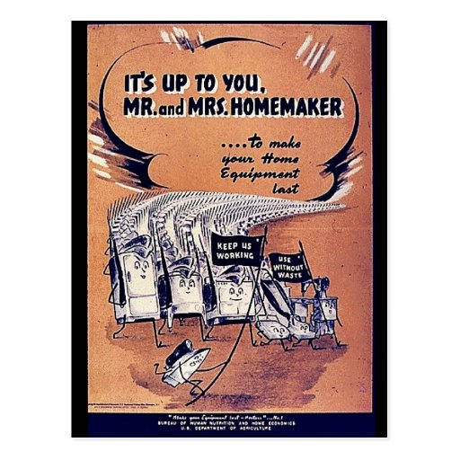 It's Up To You Mr. And Mrs. Homemaker Postcards