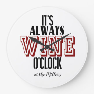 It's Wine o'clock personalised clock