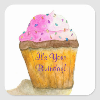 It's Your Birthday Watercolors Pink Cupcake Square Sticker