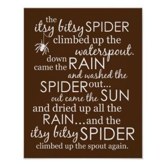 Itsy Bitsy Spider - Brown Poster