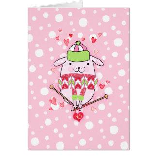 Itty Bitty Knitting Dog Card 5 x 7