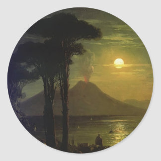 Ivan Aivazovsky-The Bay of Naples at moonlit night Round Sticker