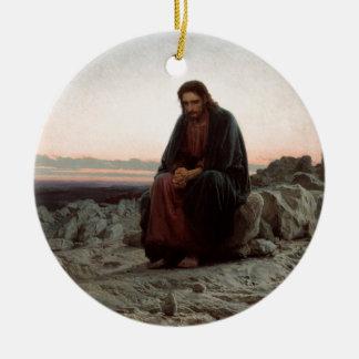 Ivan Kramskoy- Christ in the Wilderness - Fine Art Ceramic Ornament