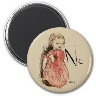 Ivar Arosenius Lillan Defiant little girl says No Magnet