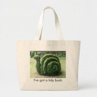 I've got a tidy bush. Topiary green garden snail Large Tote Bag