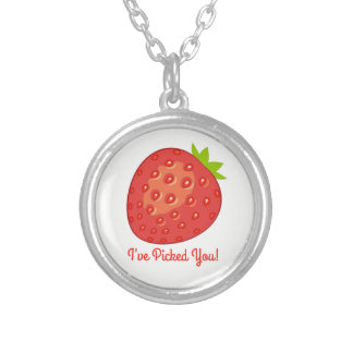 """""""I've Picked You!"""" Strawberry Necklace (circle)"""