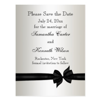 Ivory and Black Damask Wedding Invitations Postcard