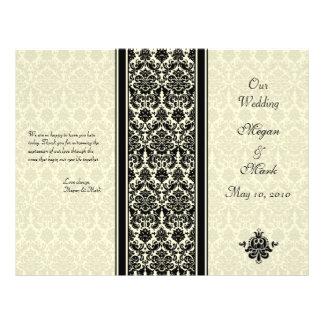 Ivory and Black Damask Wedding Program Flyer