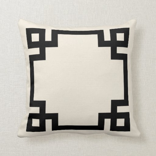 Ivory and Black Greek Key Border Throw Pillows