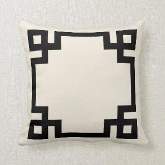 Ivory and Black Greek Key Border Throw Cushions