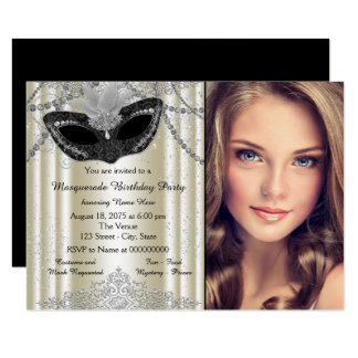 Ivory and Black Pearl Masquerade Party 11 Cm X 16 Cm Invitation Card