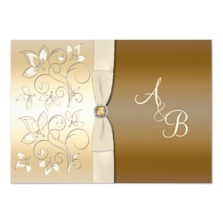 Ivory and Bronze Floral Monogrammed Invitation