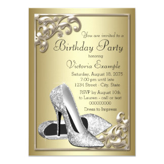 Ivory and Gold Birthday Party Card