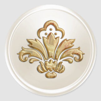 Ivory and Gold  Fleur de Lis Envelope Seal Round Sticker
