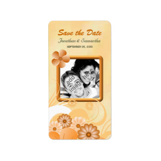 Ivory and Gold Floral Photo Save The Date Lables Address Label