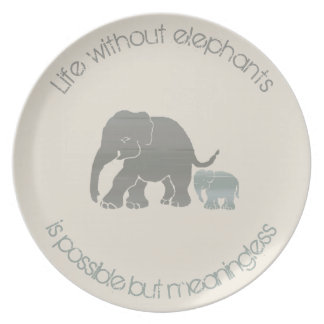 Ivory and Grey Inspirational Funny Elephant Slogan Plate