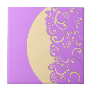 Ivory and Lilac Ceramic Tile