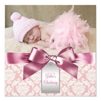 Ivory and Pink Damask Baby Girl Photo Christening 13 Cm X 13 Cm Square Invitation Card