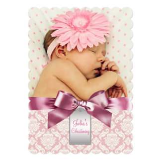 Ivory and Pink Damask Baby Girl Photo Christening 13 Cm X 18 Cm Invitation Card