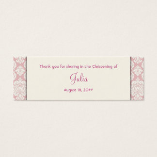 Ivory and Pink Damask Bomboniere Tags Mini Business Card