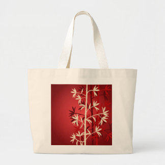 Ivory and red bamboo trees jumbo tote bag