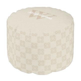 Ivory and Tan Monogram Pouf Seat