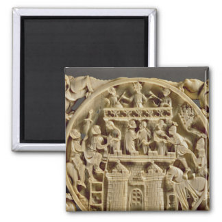 Ivory back of a mirror depicting the God of Love Square Magnet