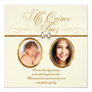 Ivory Beige Gold Photo Quinceanera Announcement Cards