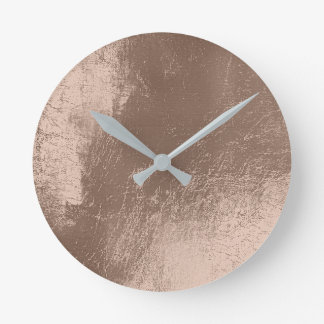 Ivory Beige Leather Metal Glass Gray Minimal Round Clock