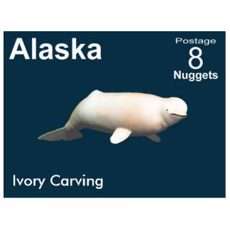 Ivory Beluga Whale - Alaska Postage Photo Sculpture Magnet