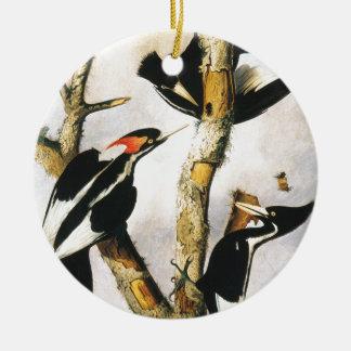 Ivory-billed Woodpeckers (Joseph Bartholomew Kidd) Round Ceramic Decoration
