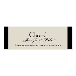 Ivory Black and Gold Damask Wedding Drink Ticket Business Card Template