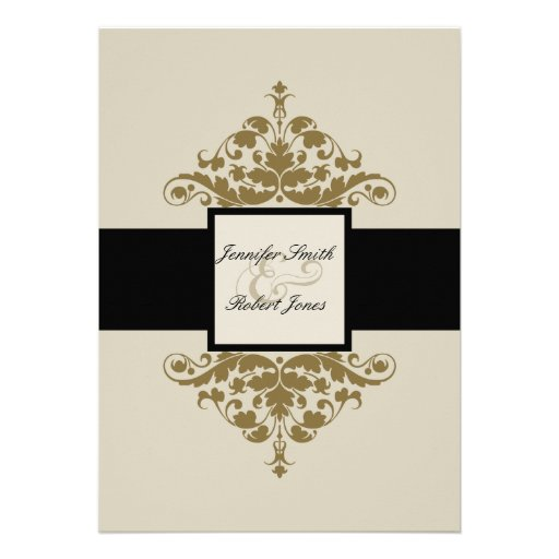 Ivory Black and Gold Damask Wedding Invitation 13 Cm X 18 ...