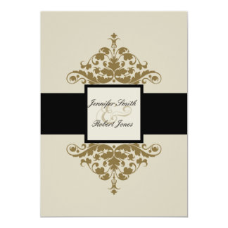 Ivory Black and Gold Damask Wedding Invitation