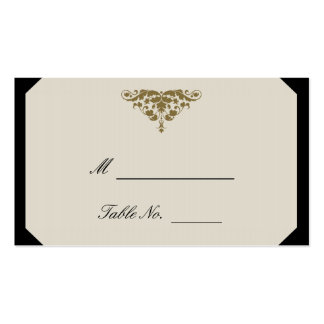 Ivory Black and Gold Damask Wedding Place Cards Business Card Template