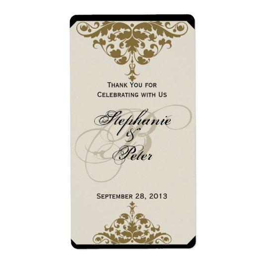 Ivory Black and Gold Damask Wedding Wine Label Shipping Label