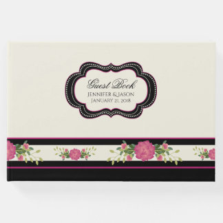 Ivory, Black and Pink Wedding Guest Book