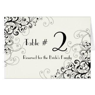 Ivory & Black Custom Wedding Table Number