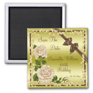 Ivory Blossom, Bows & Diamonds 100th Save The Date Magnet