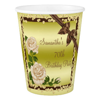 Ivory Blossom, Bows & Diamonds 70th Birthday Paper Cup