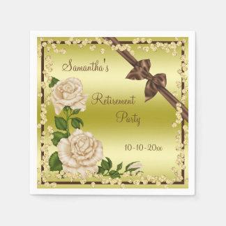Ivory Blossom, Bows & Diamonds Retirement Paper Napkins