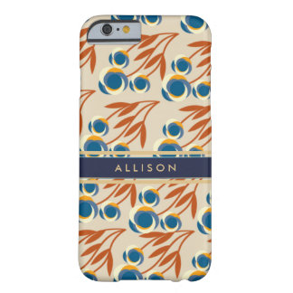 Ivory, Blue and Rust Floral Personalized Phone Barely There iPhone 6 Case