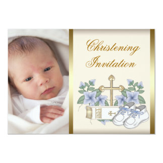 Ivory Blue Gold Baby Boy Photo Christening Invitat 13 Cm X 18 Cm Invitation Card